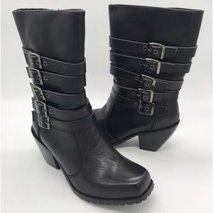 🆕 RIDE TECS 🏍 5 Buckle Black Leather Biker Boots